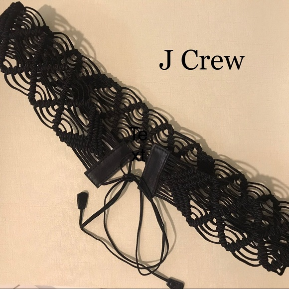 J Crew Black Woven Macramé Leather Belt